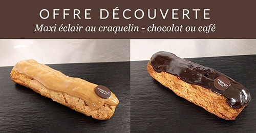 illustration : OFFRE D�COUVERTE - MAXI �CLAIR CRAQUELIN CHOCOLAT OU CAF�